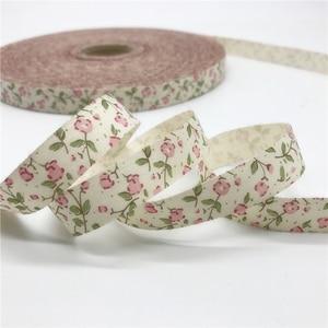 10mm 15mm 5 jardas fita de algodão impresso flor fita design feito à mão para costura tecido decoração de natal