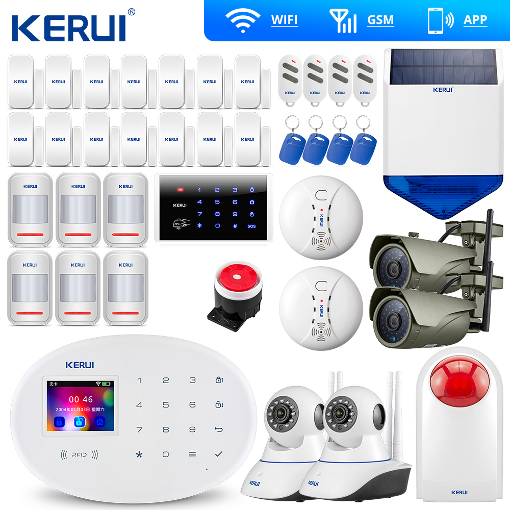KERUI W20 New Model Wireless Touch Panel WiFi GSM Security Burglar Alarm System APP RFID Card Wifi IP Camera Outdoor Solar Siren title=