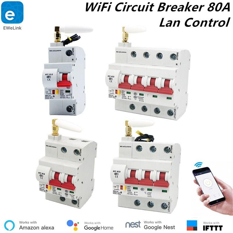 1 P/2 P/3 P/4 P 80A disjoncteur WiFi intelligent eWelink App télécommande fonctionne avec Alexa echo et Google disjoncteur domotique