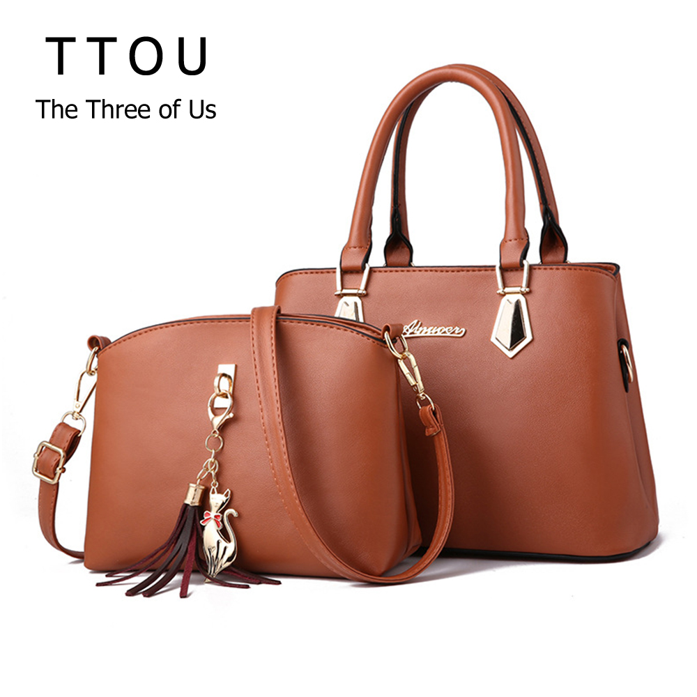 Fashion Solid Color Set Women Handbags Large Capacity Tassel Crossbody Bag Pu Leather Soft Handle High Street Lady Shoulder Bag