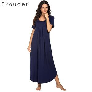 Image 3 - Ekouaer Vrouwen Lange Nachtjapon Loungewear Jurk Nachtkleding O hals Korte Mouwen Effen Nachtkleding Nacht Jurk Vrouwelijke Sleepshirts