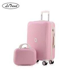 LeTrend Leuke Vrouwen Rolling Bagage Sets Spinner Wachtwoord Koffer Wielen 20 inch Koreaanse Carry op Trolley Reistas Kofferbak