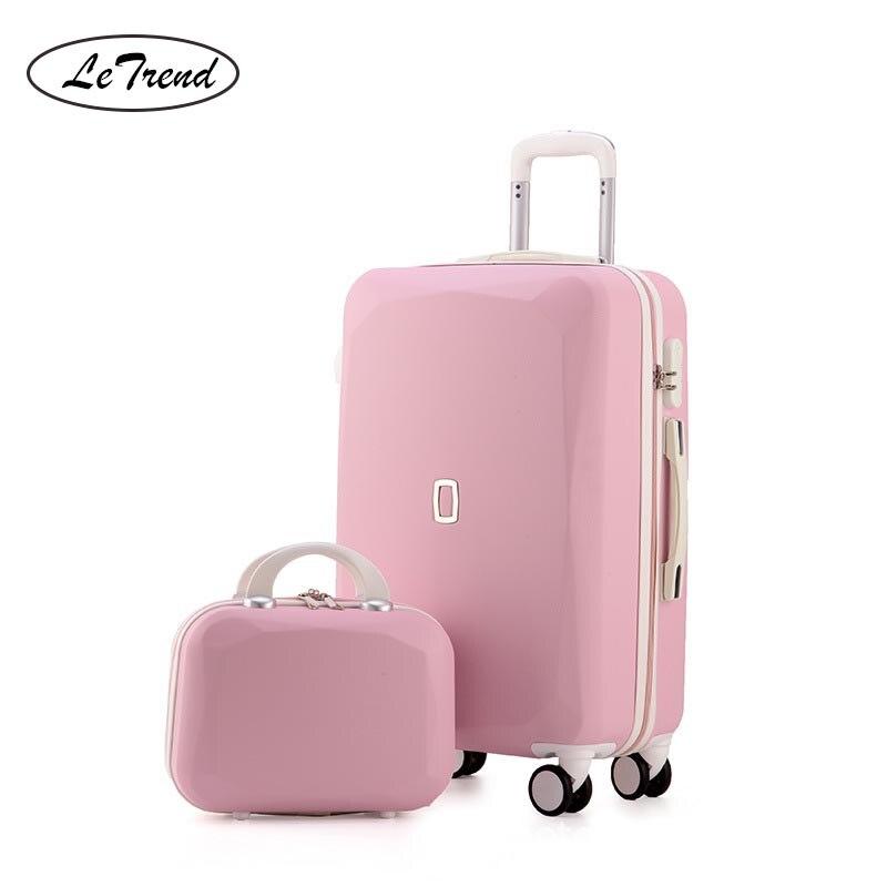 LeTrend śliczne kobiety Rolling przechowalnia zestawy Spinner hasło walizka koła 20 cal koreański przenoszenia na torba podróżna na kółkach bagażnika w Walizki od Bagaże i torby na  Grupa 1