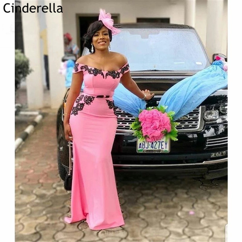 African Pink Boat Neck Off The Shoulder Sweep Train Satin Lace Applique Mermaid Bridesmaid Dresses Wedding Party Bridesmaid Gown