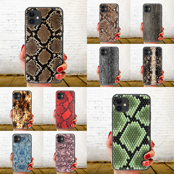 Snake skin leather Phone Case Cover Hull For iphone 5 5s se 2 6 6s 7 8 plus X XS XR 11 PRO MAX black prime luxury back soft image