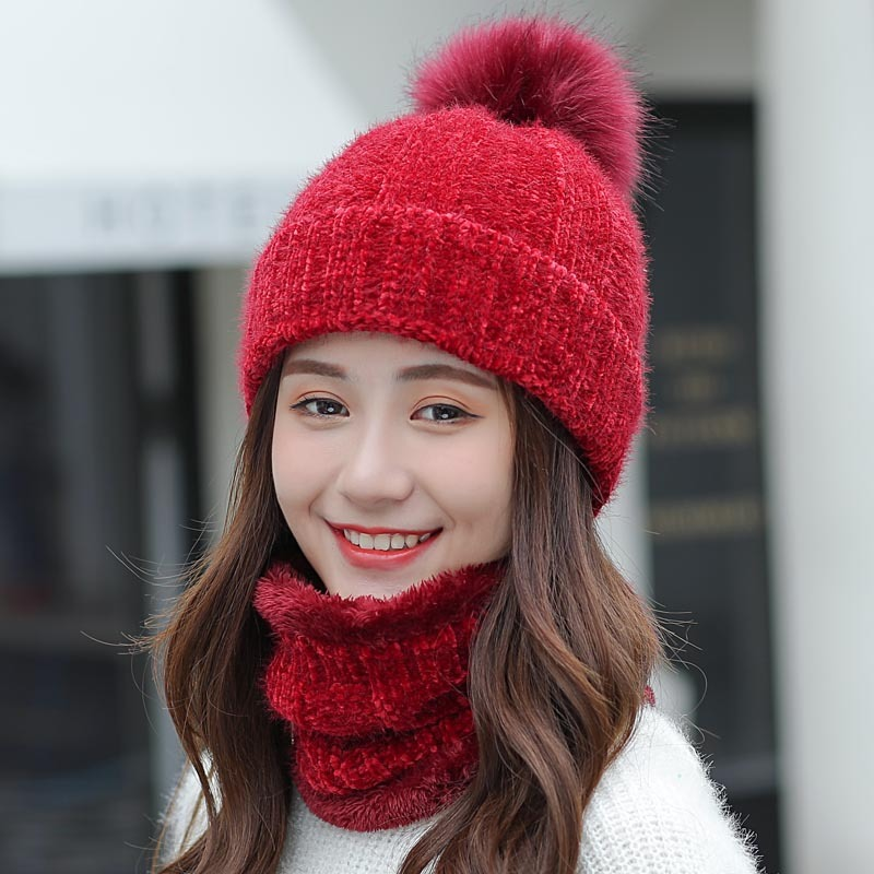 Thick Corduroy Winter Hat Scarf Set For Women Kitted  Ring Scarves Keep Warm Men Unisex Winter Hat Female Set
