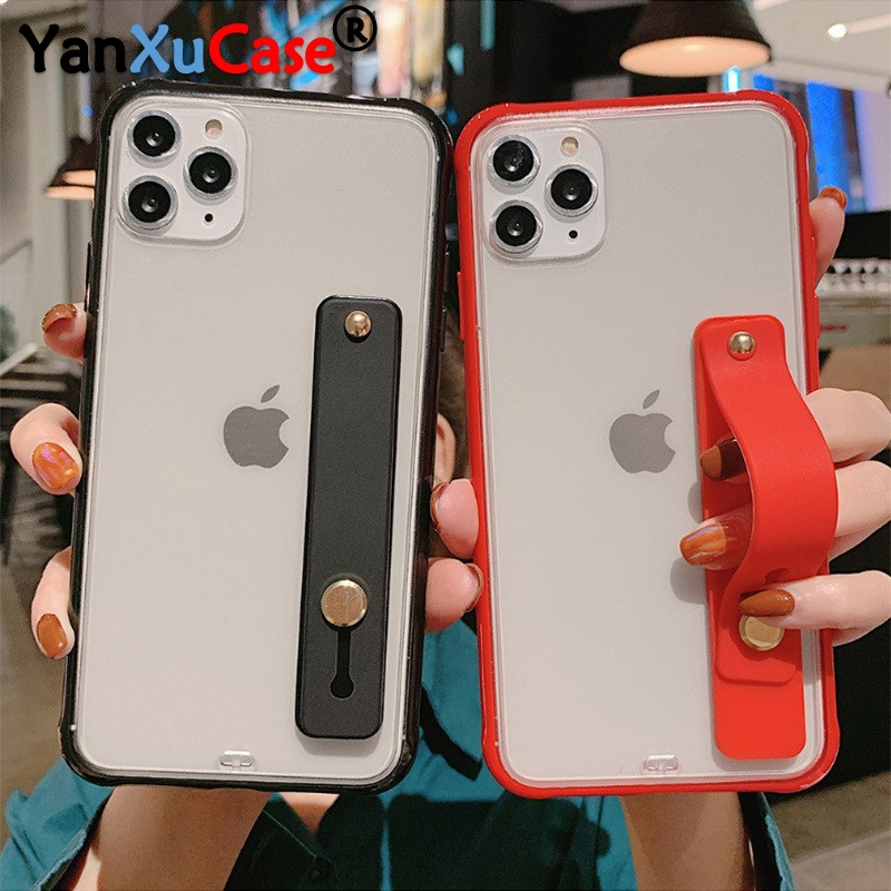 Case For iPhone 11 Pro Max XR XS Max X 6s 7 8 Plus SE 2020 Transparent Shockproof Wrist Strap Cover For iPhone 11