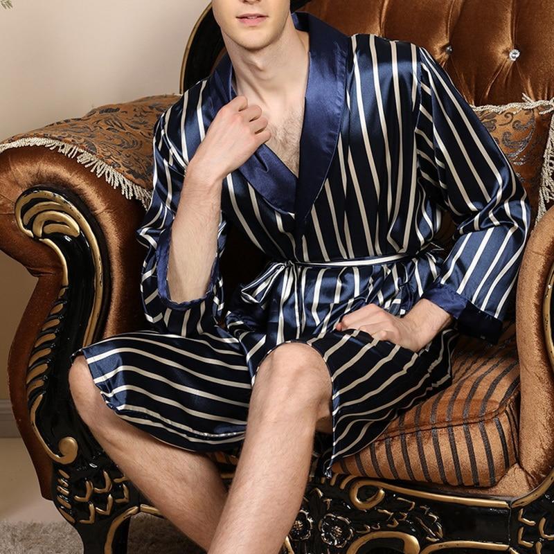 Mens Silk Satin Pajamas Pajama Pyjamas Robe Long Sleeves Bathrobe Silk Kimono Stripe Sleepwear Robe Bathrobe Night Dressing Gown