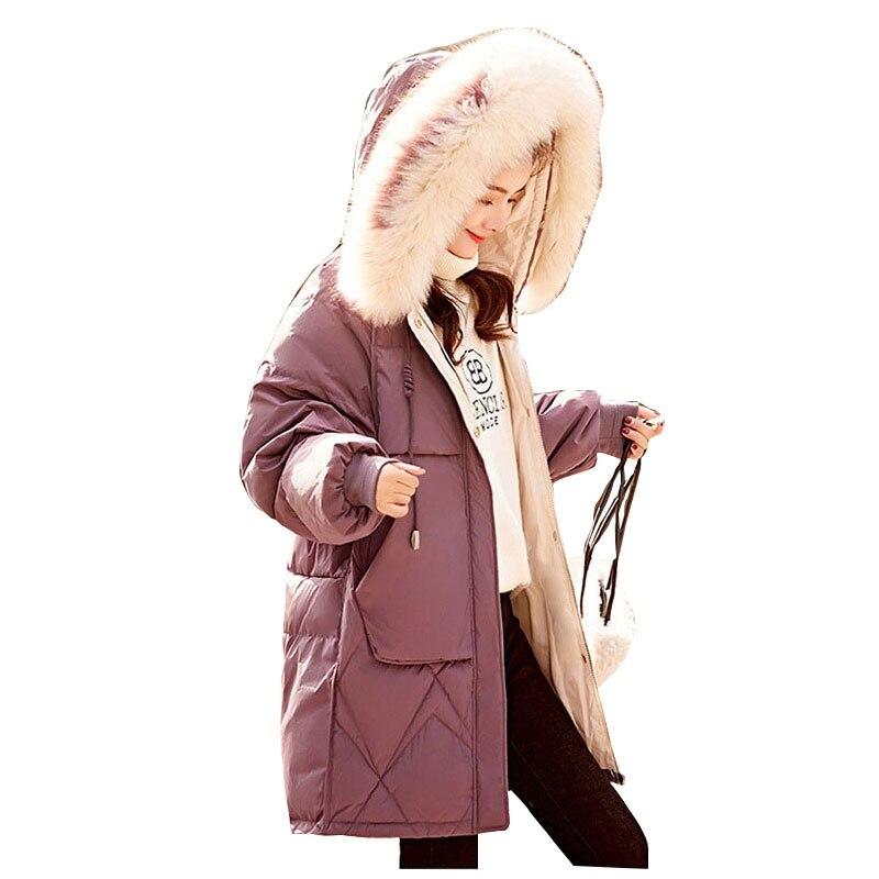 Colorful Fur Coat Hooded Winter Down Coat Jacket Warm Loose Cotton Padded Wadded Parkas Big Pocket Wind Breaker Sleeves