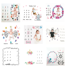 Blankets Calendar Backdrop-Cloth Play-Mats Photo-Accessories Baby Milestone Infant Nordic