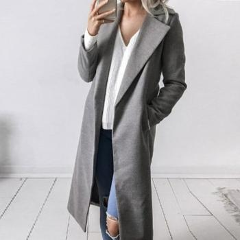 Winter Women Trench Coat Casual Lapel Collar Open Stitch Woolen  Female Coat Fashion Warm Pocket Solid Plus Size Long Outwear 2