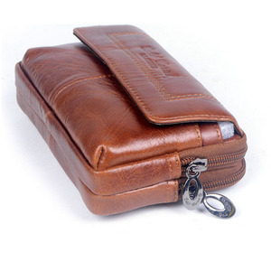 Image 4 - New Men Leather Cowhide Vintage Travel Cell Mobile Phone Case Cover Belt Pouch Purse Fanny Pack Waist Bag