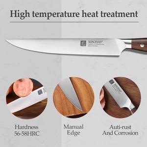 Image 4 - XINZUO yüksek kalite 3.5 + 5 + 8 + 8 + 7 inç soyma yardımcı Cleaver şef Santoku bıçak paslanmaz çelik pişirme araçları mutfak bıçakları setleri