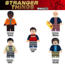 WM6023 Single Sale Building Blocks Super Heroes Stranger Things Dustin Eleven Lucas Mike Bricks Education Toys For Children Gift single sale super heroes star wars legacy collection jabba s rancor smaug tauntaun building blocks bricks toys for children gift