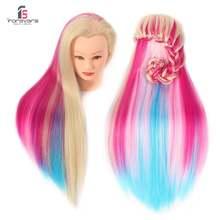 Манекен для парикмахерской 24 дюйма с красочными волосами и