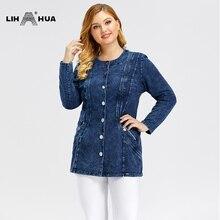 LIH HUA Women's Plus Size Casual Denim Jacket high flexibility Slim Fit Denim Jacket Shoulder pads for clothing