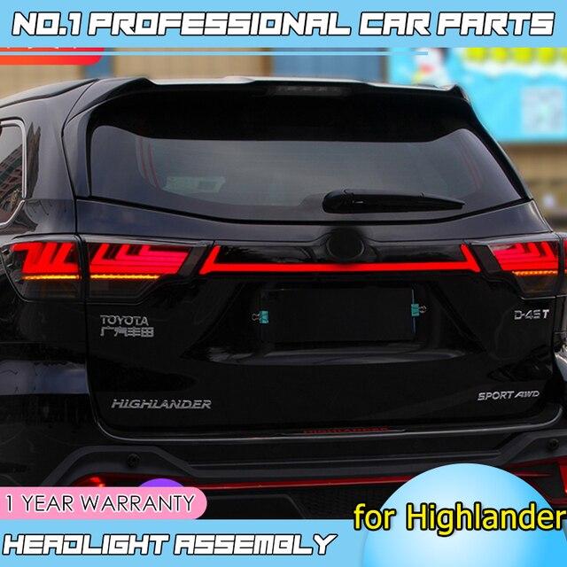 Caraccessories Tail lights For Toyota Highlander Taillights 2018 2019 LED DRL Running lights dynamic signal light brake light