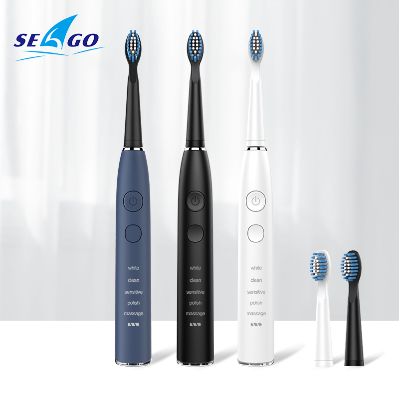 SEAGO Smart Rechargeable Electric Toothbrush Sonic For 5 Modes Can Used 180 Days With 4 Brush Heads & 1 Interdental Brush SG575