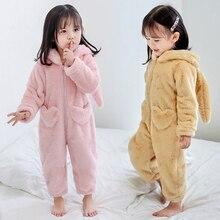 Зимний комбинезон для маленьких девочек с капюшоном в виде кролика; Детский комбинезон; теплая Фланелевая Пижама для детей; одежда для сна; Пижама для детей 7 лет
