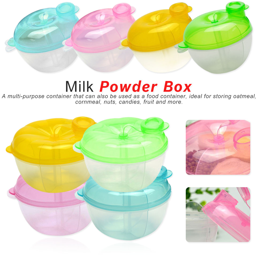1PCS Baby Milk Powder Formula Dispenser Food Container Storage Feeding Food Box 3 Layer Travel Portable Storage Box For Infant