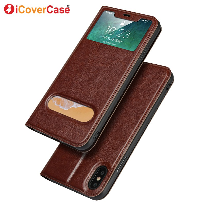 Window View Wallet For iPhone XS Max XR X Case Soft Cover For Apple iPhone XSmax XR Cases Protector Phone Accessories Coque Etui
