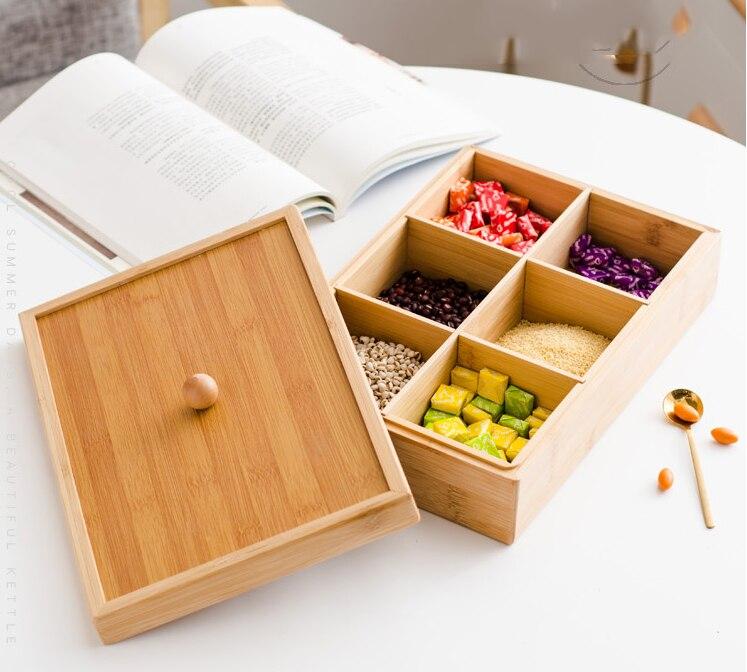 Assiettes en bois plats nourriture fruits stockage plateau compartiment avec couvercle organiseur de bureau fruits secs boîte mariage nouvel an décor LF533