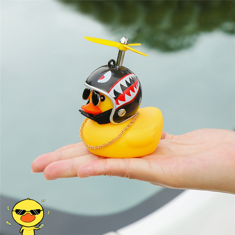 Bike MTB Bicycle Duck Bell With The Broken Wind Small Yellow Duck MTB Road Bike Riding Helmet Cycling Accessories Without Light(China)