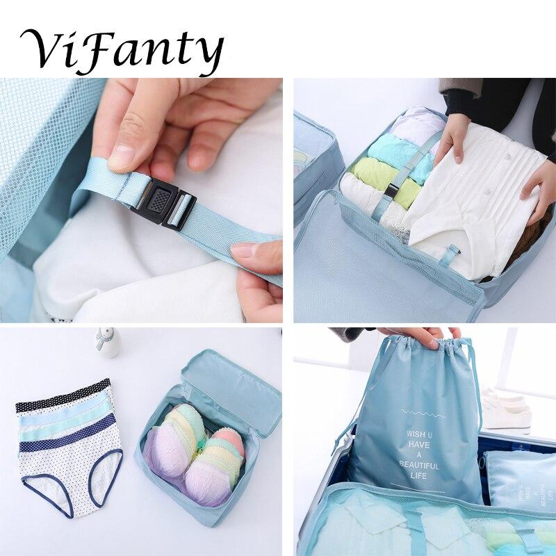 Image 5 - Vifanty 6 комплектов упаковочных кубиков, различные размеры дорожный мешочек для багажа органайзеры с сумкой на шнурке-in Принадлежности для путешествия from Багаж и сумки