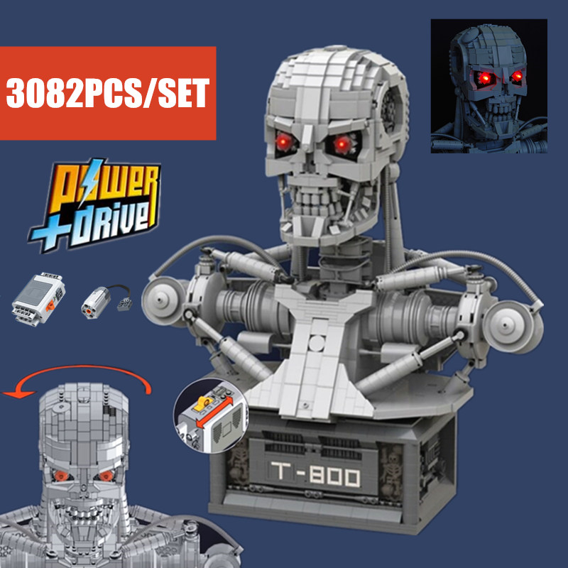 New MOC Terminator T-800 Bust MOC-20570 Fit Legoings Technic Robot Power Function Building Blocks Bricks Children Kid Toy Gift