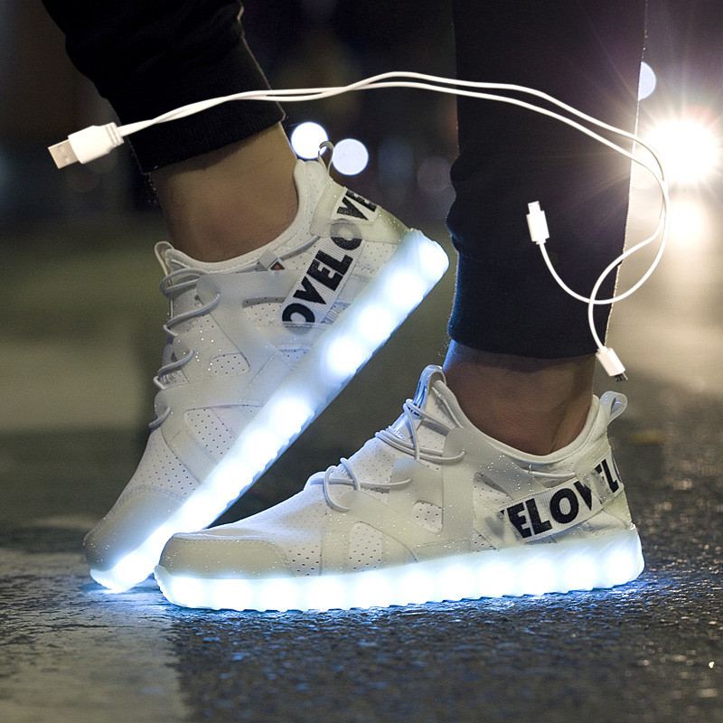 New LED Shoes Fiber Optic Shoes For Girls Boys Men Women USB Charging Light Up Shoe For Adult Glowing Running Sneaker