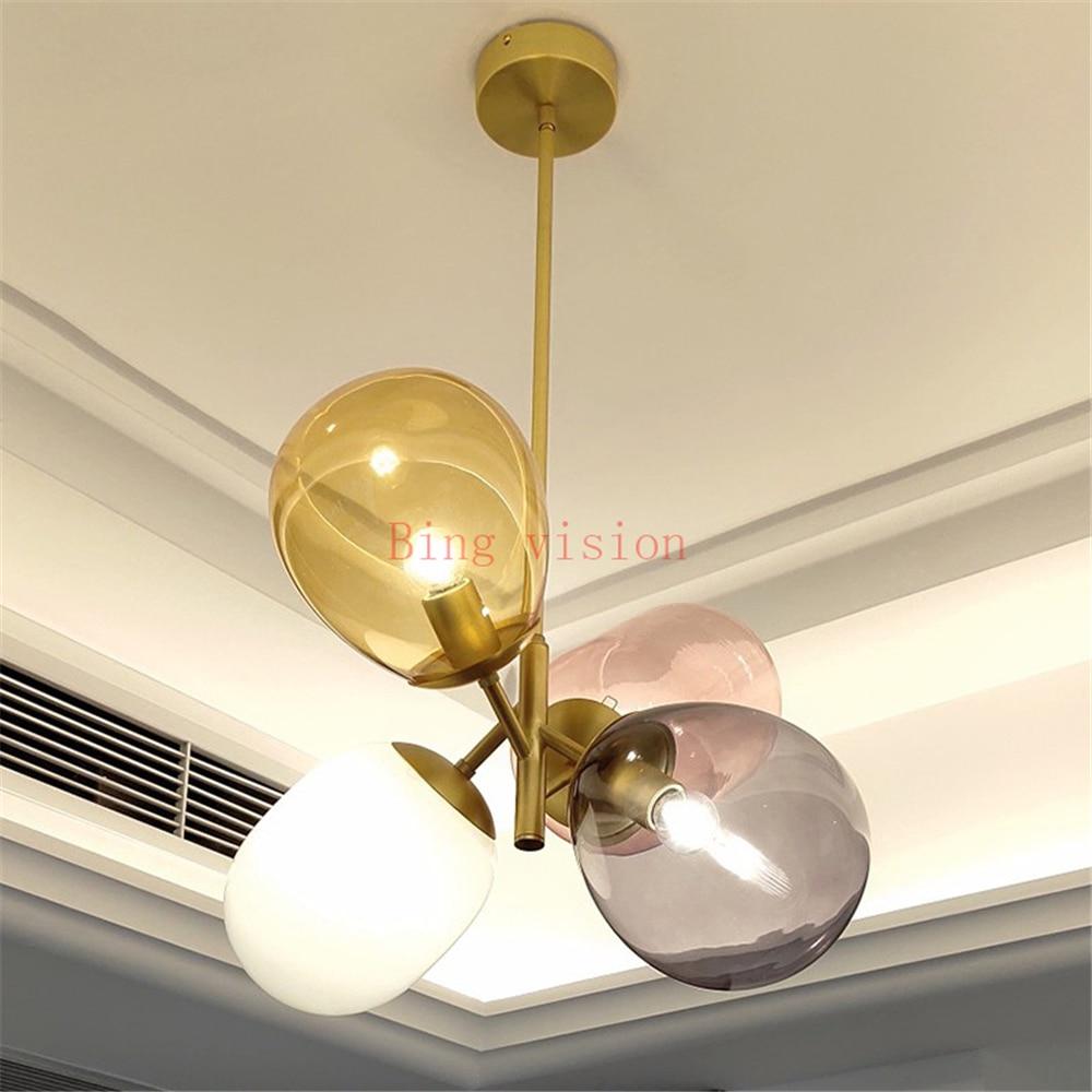 Nordic moderne magie bean ballon glas hängen leuchte moderne kinderzimmer multi farbe led decke anhänger lampe