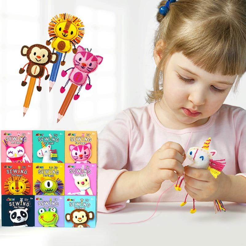 DIY Sewing Pen Topper Kit Kids Hand Puppet Craft Animal Lion Unicorn Owl Frog Educational Toys for Kindergarten Art With Pen
