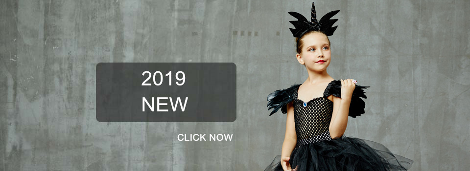H7d118c30c0434443b17b58f1beeaf1abp Maleficent Black Gown Tutu Dress with Deluxe Horns and Wings Girls Villain Fancy Dress Kids Halloween Cosplay Witch Costume