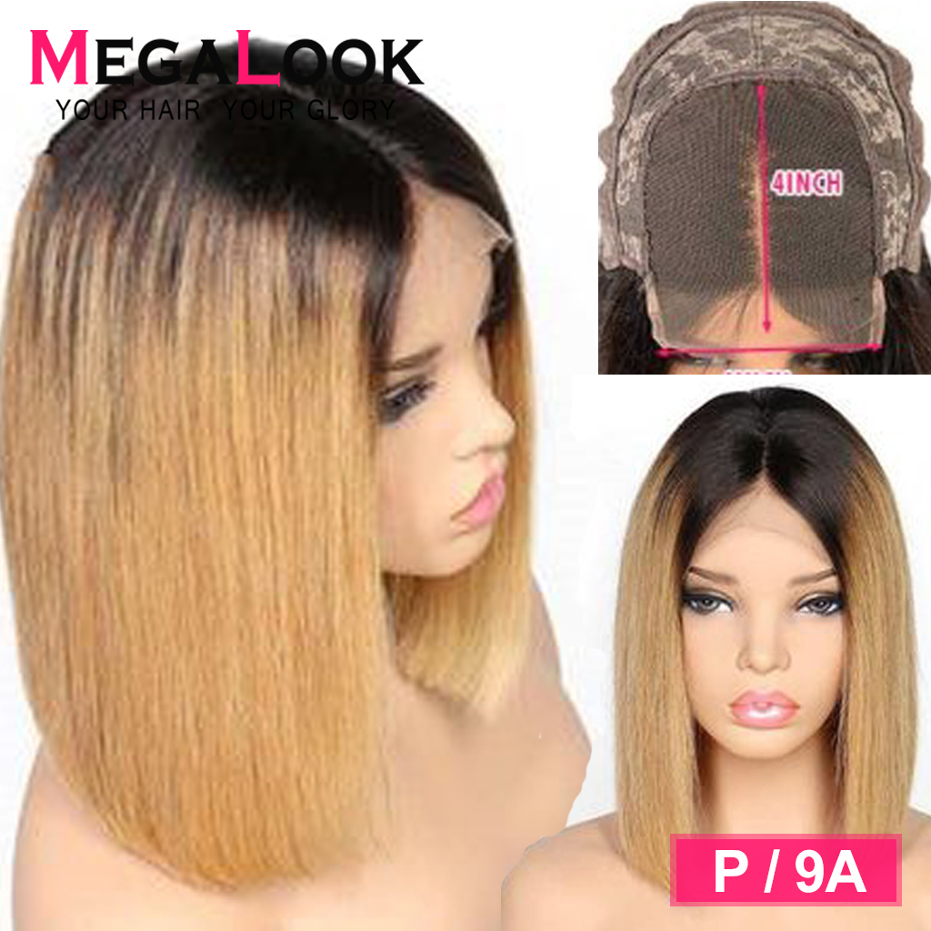 Ombre Human Hair Wig Short Colored Closure Wig P/9A Brazilian 1B/27 180% Remy10-14 Inch 4x4 Closure Wig Bob Wigs For Black Women