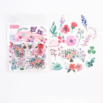 40 pcs /Pack Spring Blooming Flowers Adhensive Stickers Decorative Album Diary Hand Account Decor - discount item  15% OFF Stationery Sticker