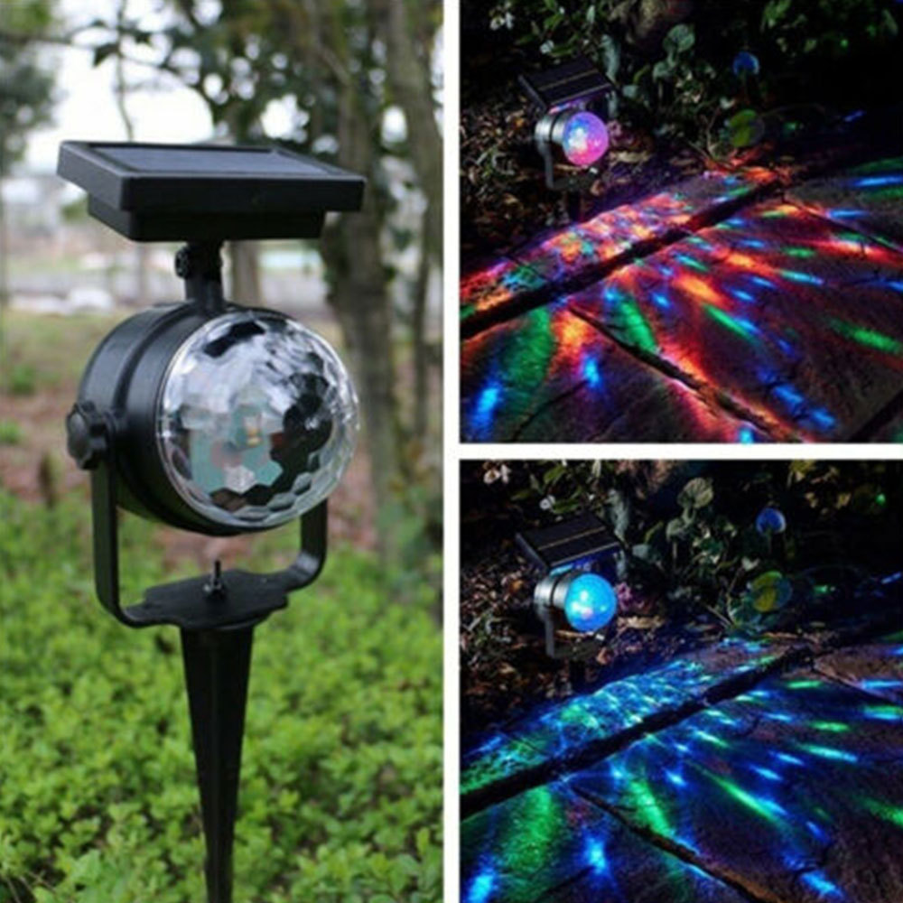 Outdoor New Solar Rotating LED Projection Light Garden Lawn Lamp Bulb Colorful Light
