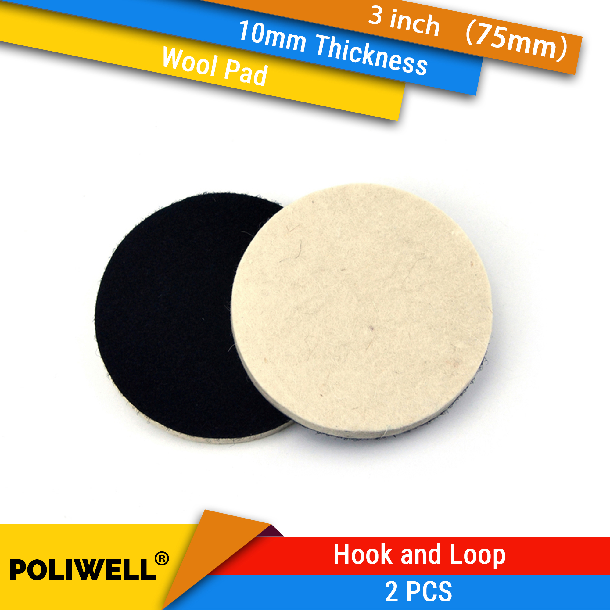 2PCS 3 Inch <font><b>75mm</b></font> Wool Polishing Pad <font><b>Disc</b></font> Hook and Loop Abrasive Pad for Car Metal Grinding Polishing Power Tools Accessories image