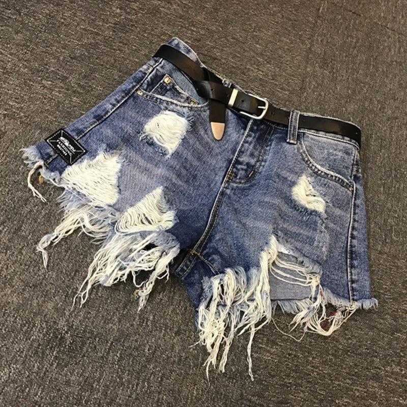 Denim Shorts Women Fashion Ladies Tassel Hole High Waist Summer Short Jeans Sexy Wide Leg Shorts