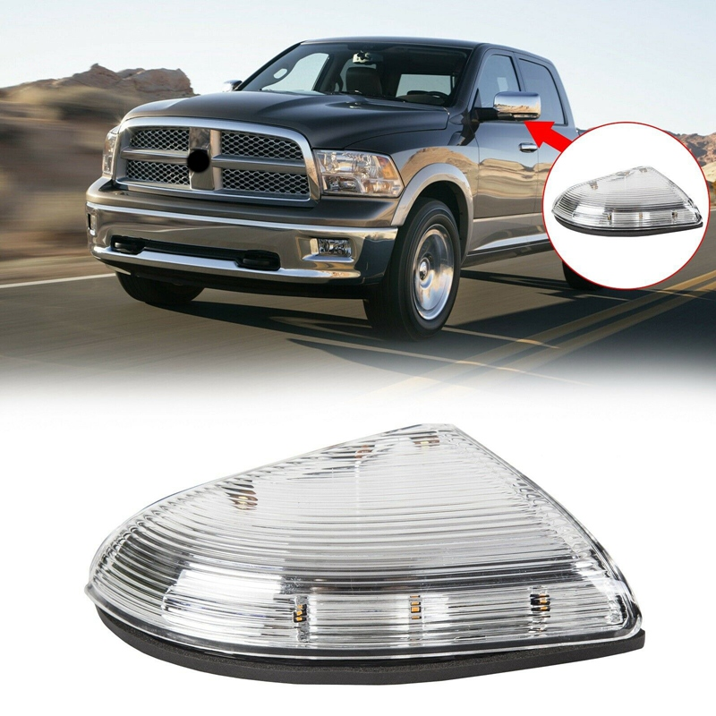 Dasbecan Front Right Passenger Side Mirror Turn Signal Light Housing Lamp Cover Compatible With Dodge Ram 1500 2500 2009-2013 Replace# 68064948AA