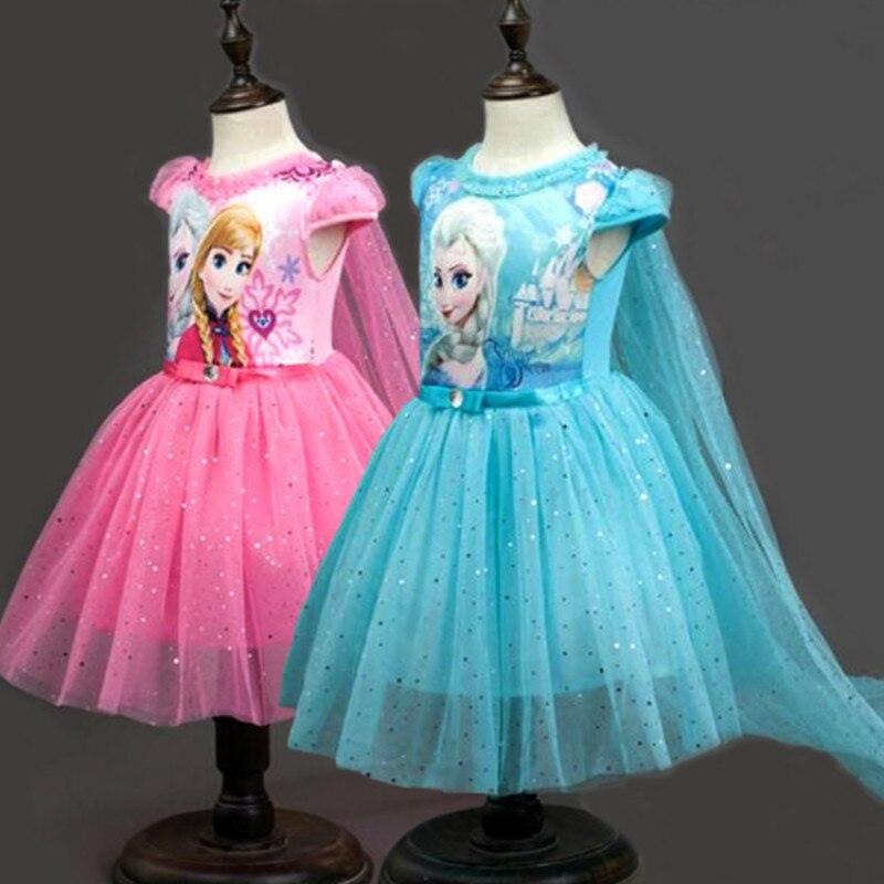 Vestido de verano de Frozen para niñas, manga corta, malla de encaje hasta la rodilla, Navidad, informal, dibujos animados