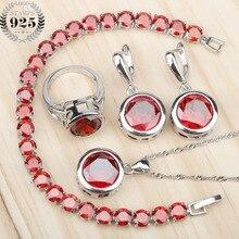 Okrągły 925 srebrny czerwony Cubic cyrkon zestawy biżuterii kobiety kolczyki pierścionki z kamieniami naszyjnik bransoletki biżuteria pudełko