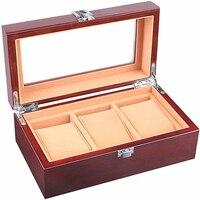 Caixa de relógio para homem 3 slots caixa de armazenamento organizador de madeira relógios dos homens coleção titular exibição possui vidro superior & flanela travesseiro