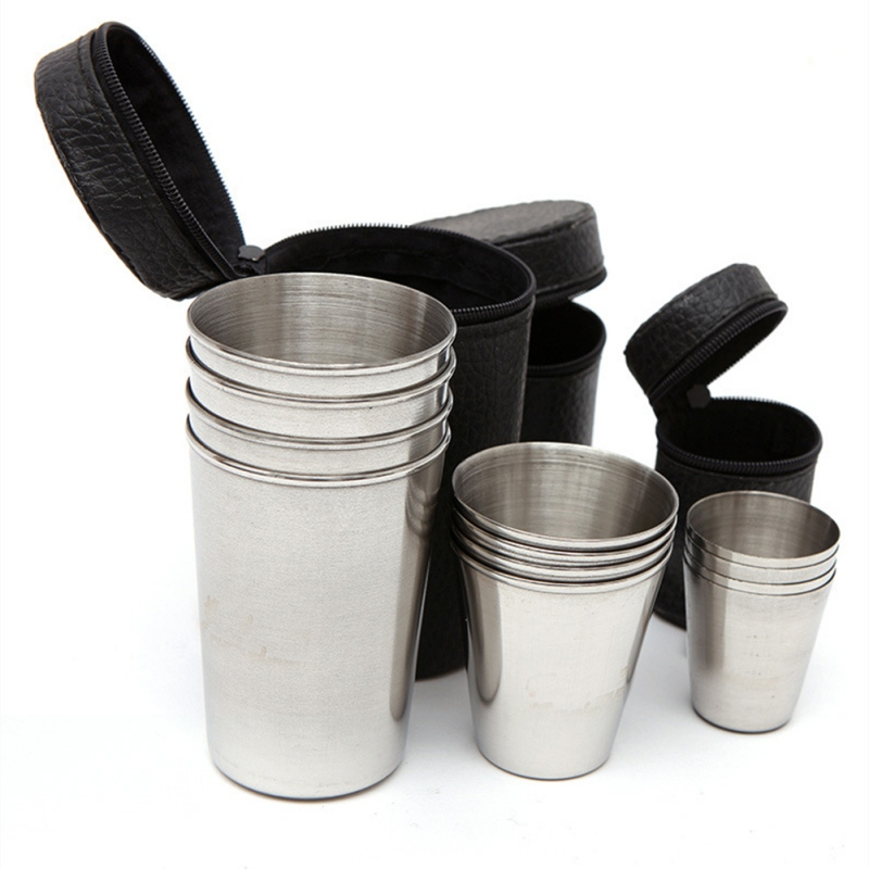 4 Pcs/set Drinking Coffee Tea Beer With Case For Camping Holiday  Stainless Steel Cover Mug Camping Cup Mug