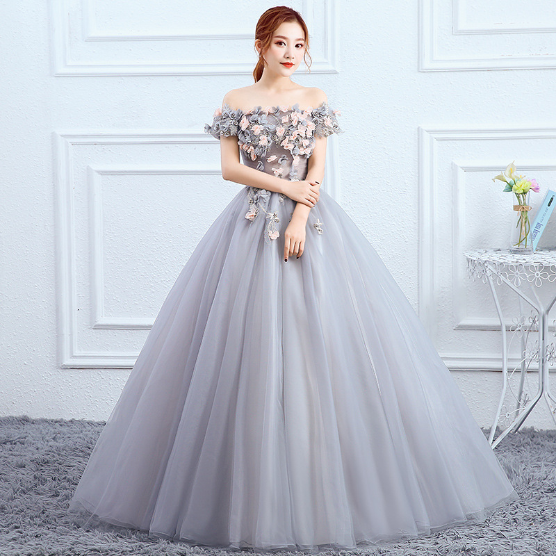 Fashion Boat Neck Quinceanera Dresses Elegant Flower Appliques Long Ball Gown Party Prom Women Host Dress Vestido Debutante