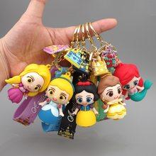 Disney princesas neve branca hua sereia rapunzel bella pvc chaveiro figura boneca figuras brinquedos