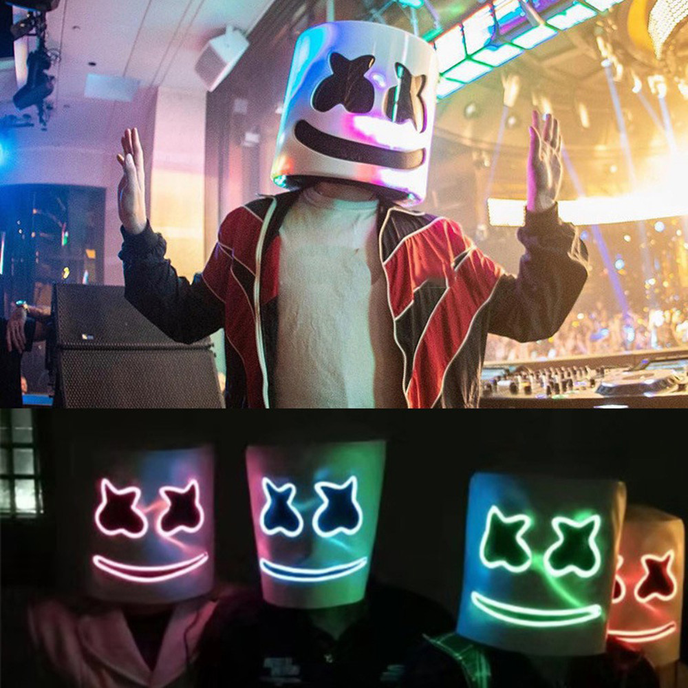 Halloween Marshmallow Light DJ Mask Led Helmet Cosplay Prop Party Light DJ Mask Marshmallow Costume EL Mask Music Night Light