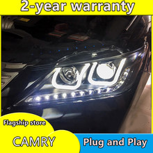 Auto Styling Hoofd Lamp Case Voor Toyota Camry Koplampen 2012 2013 2014 Led Koplamp Drl H7 Hid Xenon Dimlicht bi-Xenon Lens(China)