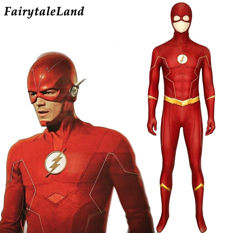 The Flash Season 6 Barry Allen Printing Suit Fancy Halloween Superhero Jumpsuit Flash Mask 3D Bodysuit