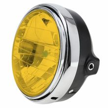 1pc Yellow Motorcycle Round Headlight Headlamp 7Inches 12V 35W Universal Clear Glass Lens Beam Lamp Light Car Accessories