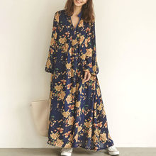Women Boho Dress 2019 Fall Fashion Foral Print Long Dresses V Neck Loose Pullover Korean Causal Maxi Black/Blue Robe Vestidos(China)